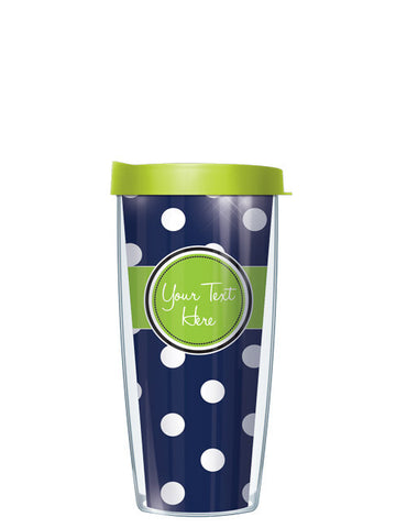 Personalized Text With Font Option Dots Navy - Signature Tumblers - Tumbler -  - 2
