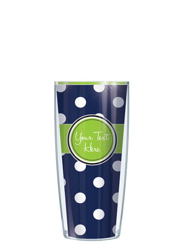 Personalized Text With Font Option Dots Navy - Signature Tumblers - Tumbler -  - 1