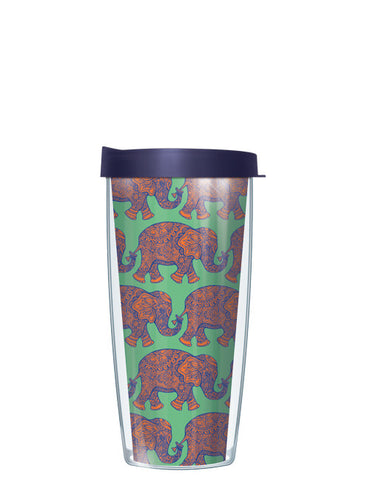 Royal Elephants - Green and Navy Tumbler
