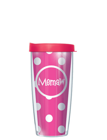 Memaw on Pink Dots - Signature Tumblers - Tumbler -  - 2