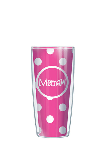 Memaw on Pink Dots - Signature Tumblers - Tumbler -  - 1
