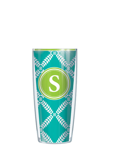 Single Letter Royal Diamonds Teal - Signature Tumblers - Tumbler -  - 1