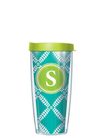 Single Letter Royal Diamonds Teal - Signature Tumblers - Tumbler -  - 2
