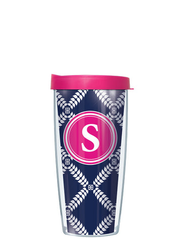 Single Letter Royal Diamonds Navy - Signature Tumblers - Tumbler -  - 2
