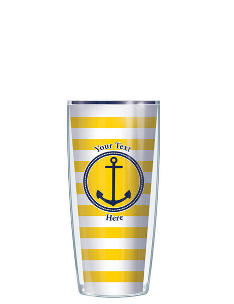 Personalized Text Stripes Yellow - Signature Tumblers - Tumbler -  - 1
