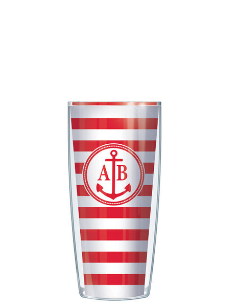 Two Letter Monogram Stripes Red - Signature Tumblers - Tumbler -  - 1