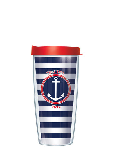 Personalized Text Stripes Navy - Signature Tumblers - Tumbler -  - 2