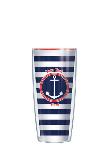 Personalized Text Stripes Navy - Signature Tumblers - Tumbler -  - 1