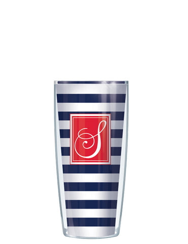 Single Letter Stripes Navy - Signature Tumblers - Tumbler -  - 1