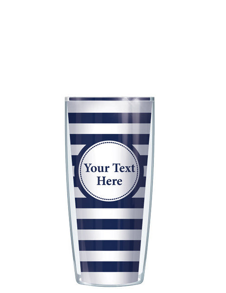 Personalized Text With Font Option Stripes Navy - Signature Tumblers - Tumbler -  - 1
