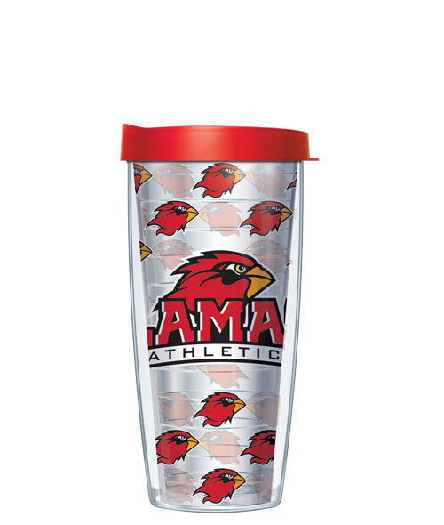 Lamar University - Logo Pattern on Clear with Red Lid