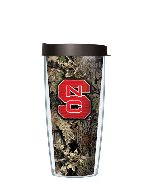 North Carolina State University - Emblem on Camo with Black Lid
