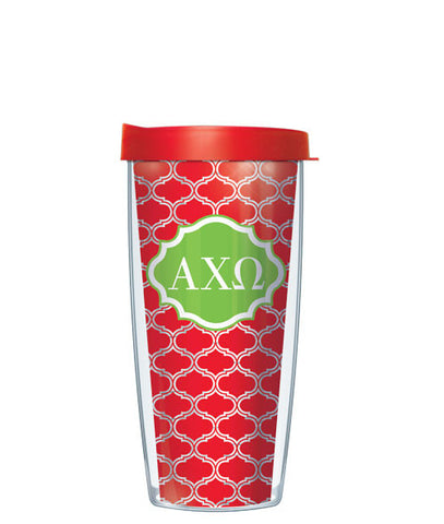 Alpha Chi Omega - Clear Duofoil with Red Lid