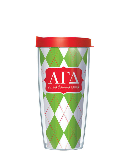 Alpha Gamma Delta - Argyle with Clear Lid