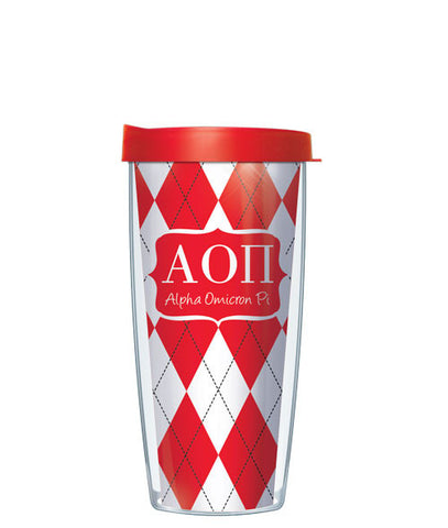 Alpha Omicron Pi - Argyle with Clear Lid