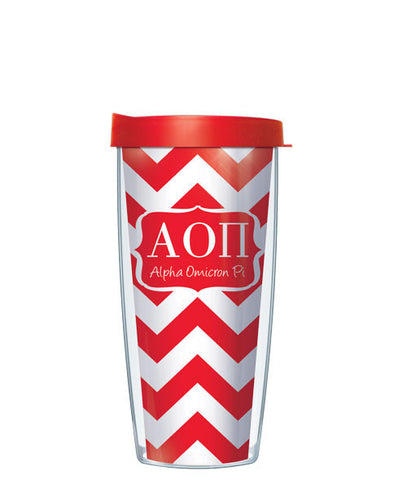 Alpha Omicron Pi - Chevron with Clear Lid