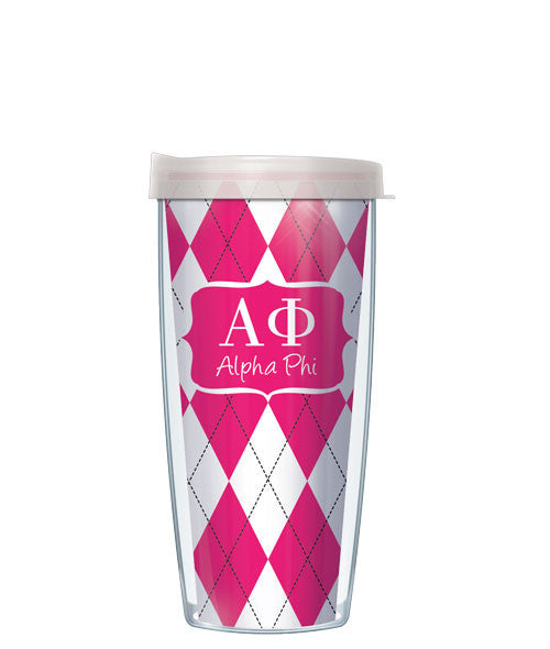 Alpha Phi - Argyle with Clear Lid