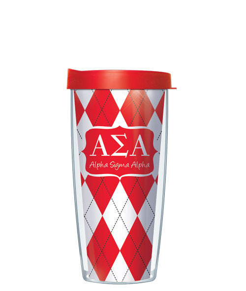 Alpha Sigma Alpha - Argyle with Red Lid
