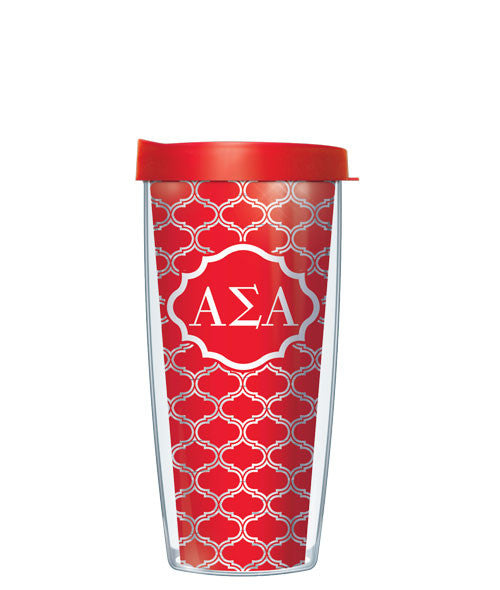 Alpha Sigma Alpha - Clear Duofoil with Red Lid
