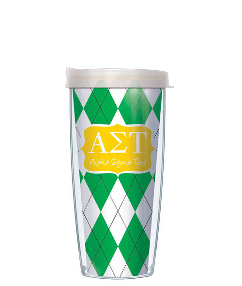 Alpha Sigma Tau - Argyle with Clear Lid
