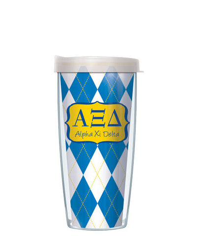 Alpha Xi Delta - Argyle with Clear Lid