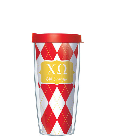 Chi Omega - Argyle with Clear Lid