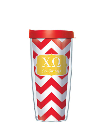 Chi Omega - Chevron with Clear Lid
