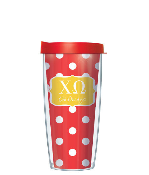 Chi Omega - Dots with Clear Lid