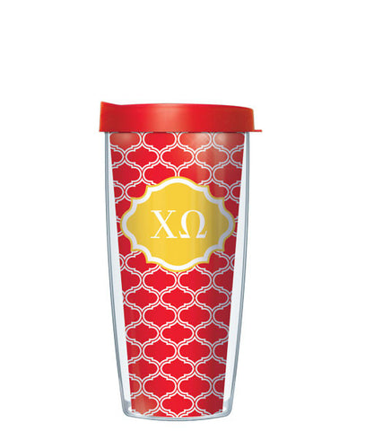 Chi Omega - Duofoil Pattern with Red Lid
