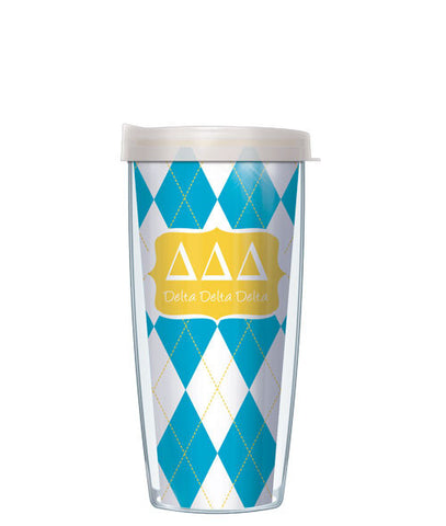 Delta Delta Delta - Argyle with Clear Lid