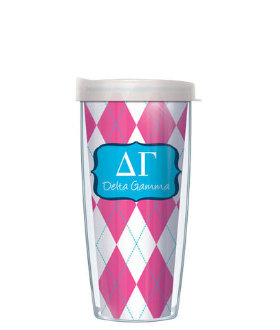 Delta Gamma - Argyle with Clear Lid