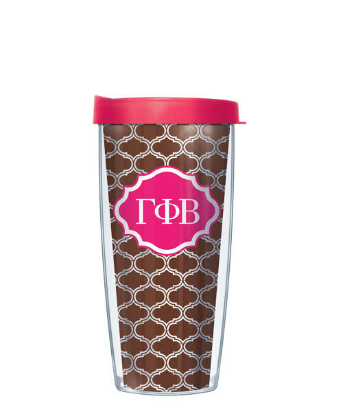 Gamma Phi Beta - Clear Duofoil with Pink Lid