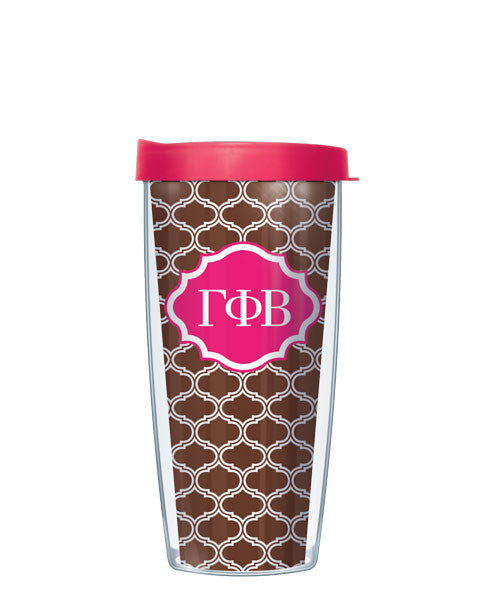 Gamma Phi Beta - Duofoil Pattern with Pink Lid