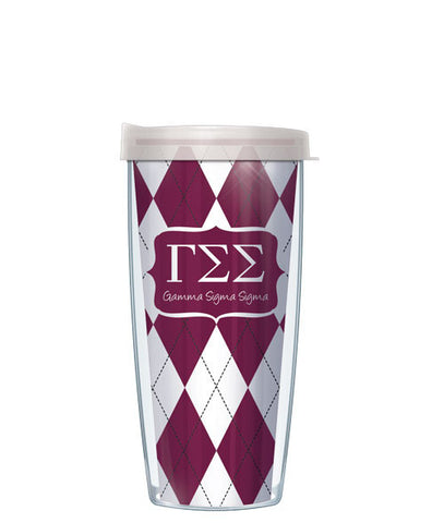Gamma Sigma Sigma - Argyle with Clear Lid
