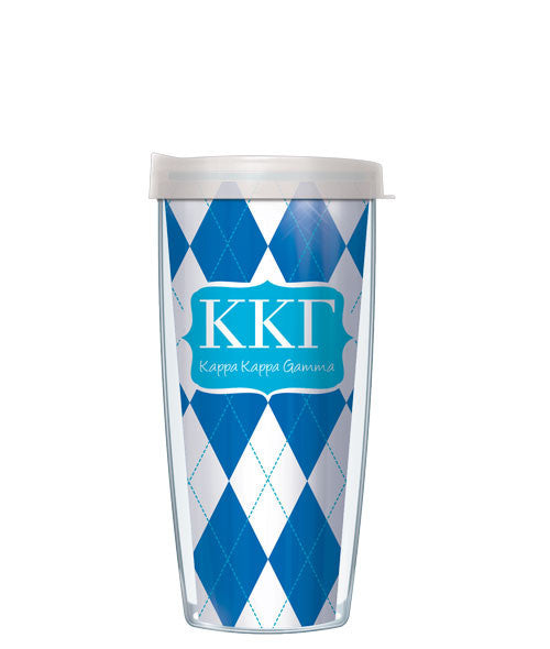 Kappa Kappa Gamma - Argyle with Clear Lid
