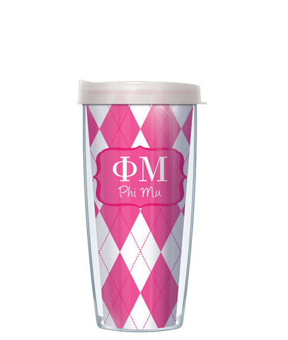 Phi Mu - Argyle with Clear Lid