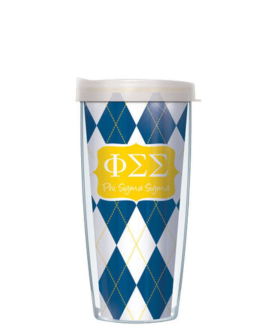 Phi Sigma Sigma - Argyle with Clear Lid