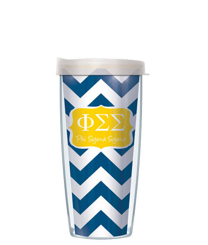 Phi Sigma Sigma - Chevron with Clear Lid
