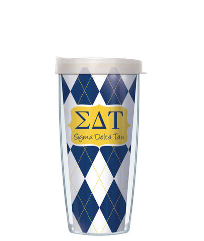 Sigma Delta Tau - Argyle with Clear Lid