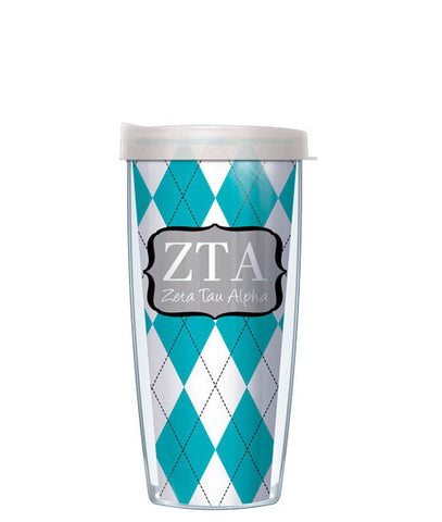 Zeta Tau Alpha - Argyle with Clear Lid