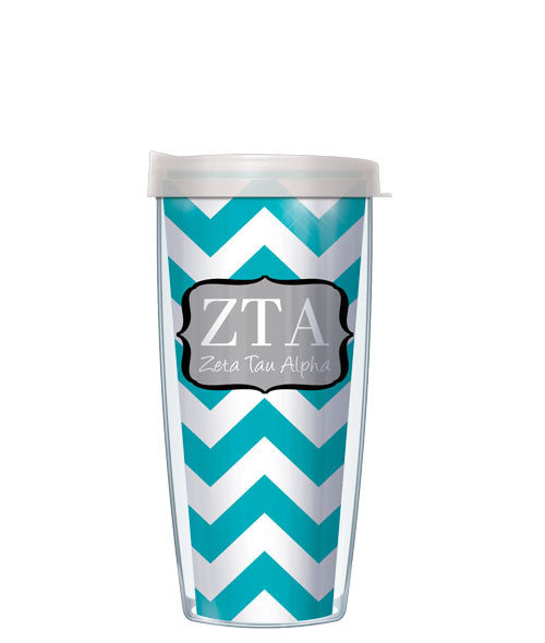 Zeta Tau Alpha - Chevron with Clear Lid