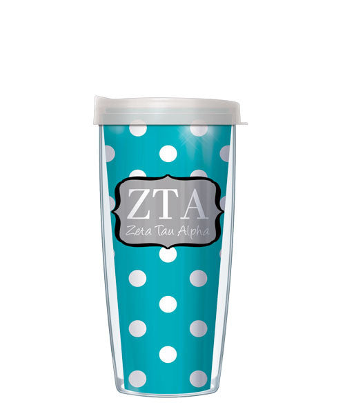 Zeta Tau Alpha - Dots with Clear Lid