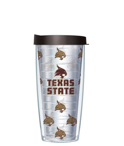 Texas State University - Logo Pattern on Clear with Black Lid