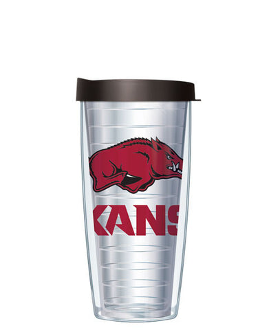 University of Arkansas University - Logo on Clear with Black Lid