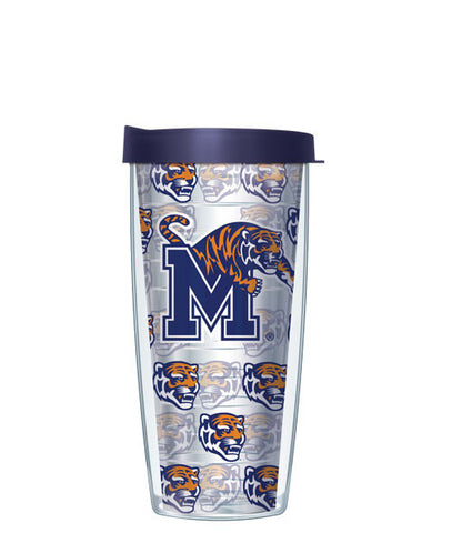 University of Memphis - Logo Pattern on Clear with Navy Lid