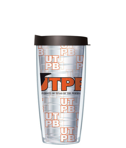 University of Texas, Permian Basin - Logo Pattern on Clear with Black Lid