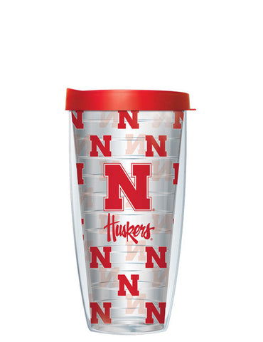 University of Nebraska - Logo Pattern on Clear with Red Lid