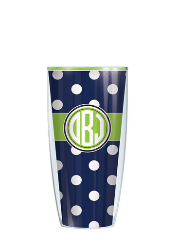 Monogram Dots Navy With Band - Signature Tumblers - Tumbler -  - 1