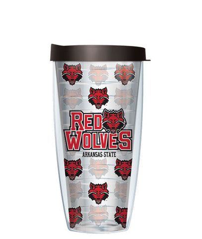 Arkansas State University - Logo Pattern on Clear with Black Lid