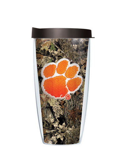 Clemson University - Logo on Camo with Black Lid